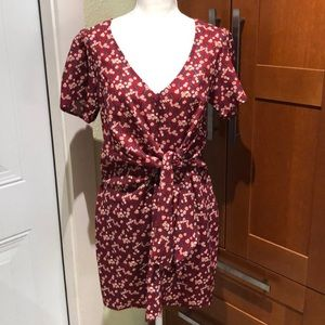 Lulus red floral wrap dress size M